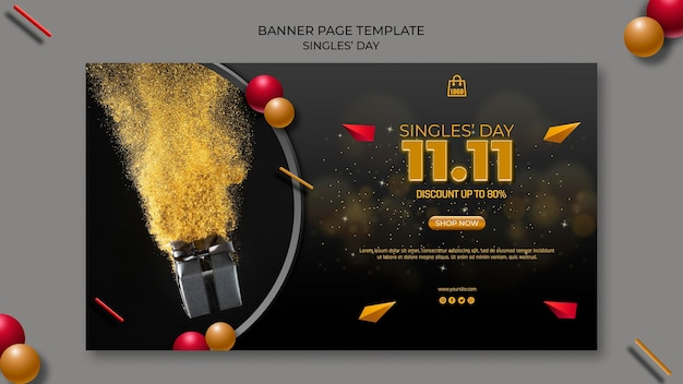 Singles day banner page template