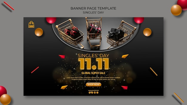 Modello di pagina banner per single day
