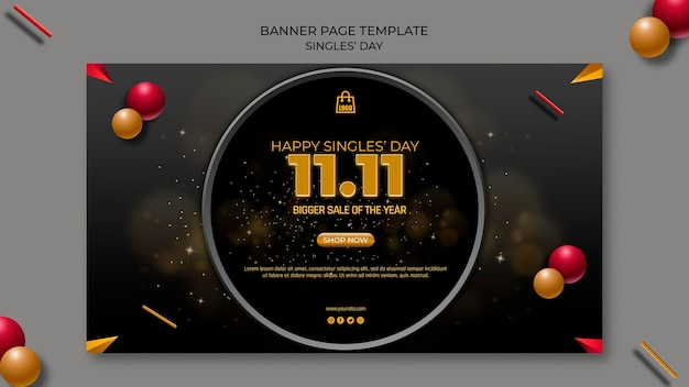 Singles day banner template
