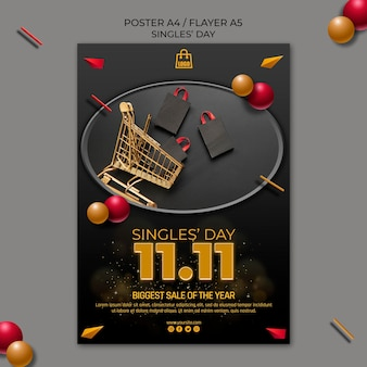 Singles day flyer template