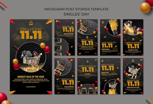 Singles day instagram stories template