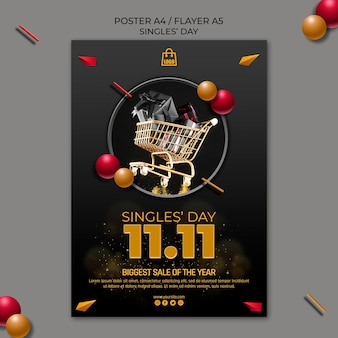 Singles day poster template
