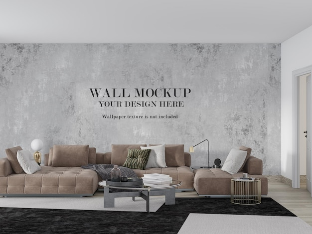 Sitting room wall mockup behind large sofa