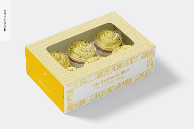 Мокап коробки с шестью кексами