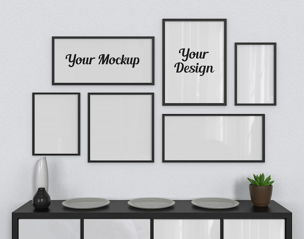 Six photo frames mockup hanging on the white wall
