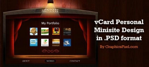 Sixrevisionsはgraphicsfuelによって設計されたvcardの個人的なポートフォリオのミニサイトpsdレイアウトをリリース