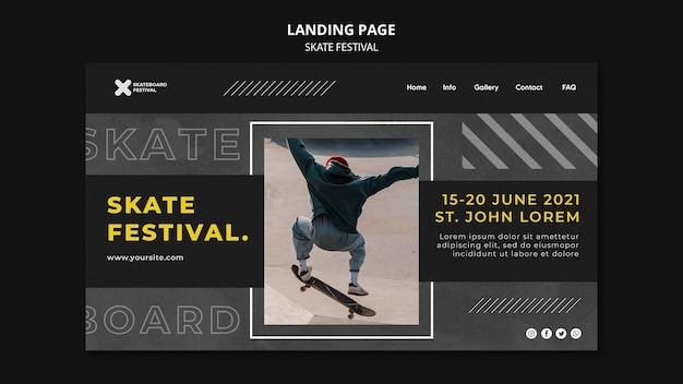 Modello di pagina di destinazione del festival dello skate