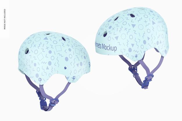 Мокап коньковых шлемов, вид слева и справа