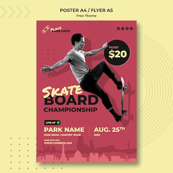 Скейтборд концепция флаер шаблон