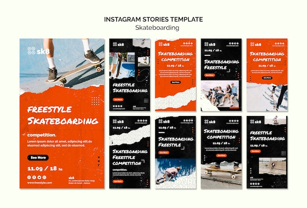 Skateboard concept instagram stories template