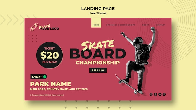 Skateboard concept landing page template