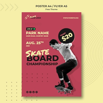Skateboard concept poster template