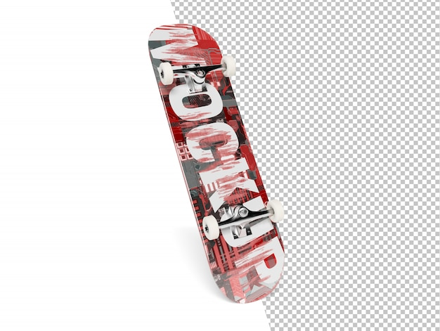 Skateboard isolated cut out on white mockup