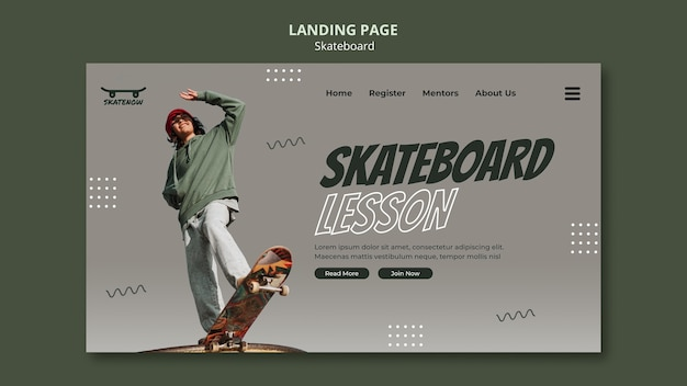 Skateboard lesson landing page template