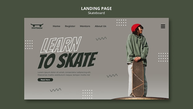 Skateboard lesson landing page
