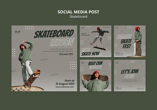 Post sui social media di lezione di skateboard