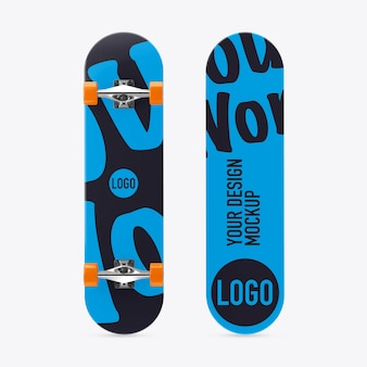 Skateboard mockup on white space