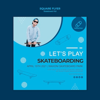 Скейтбордист флаер шаблон концепции