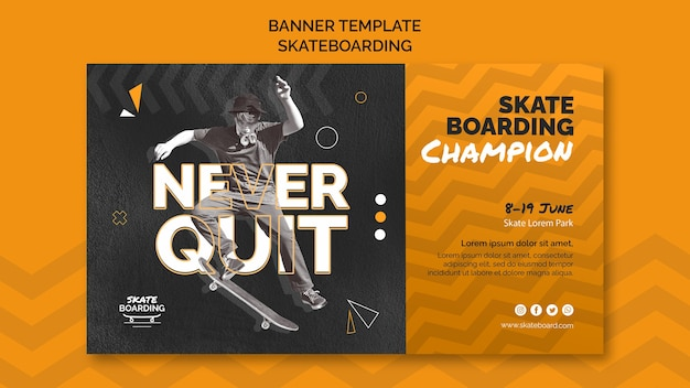 Skateboarding banner template with photo