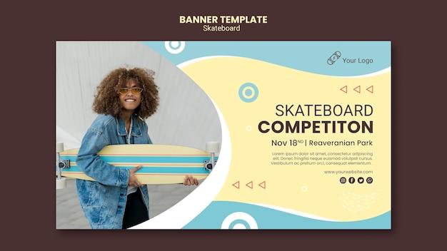 Шаблон баннера концепции скейтбординга