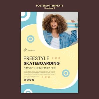 Skateboarding concept poster template