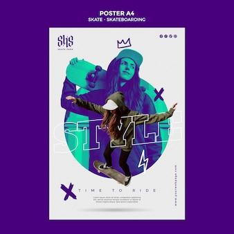 Modello di poster di concetto di skateboard