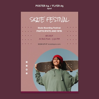 Шаблон плаката фестиваля скейтбординга