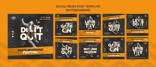 Skateboarding instagram posts template with photo
