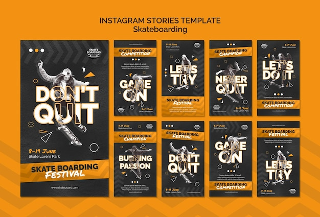 Skateboarding instagram stories template with photo