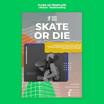스케이트 보드 라이프 스타일 a5 전단지 템플릿