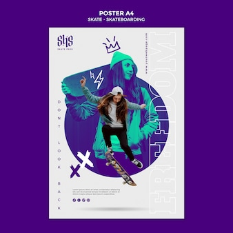 Skateboarding lifestyle poster template