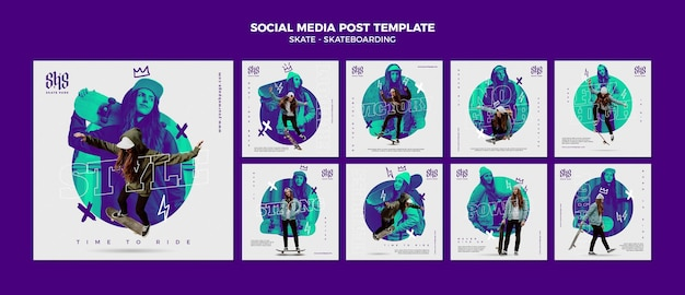 Skateboarding social media post template