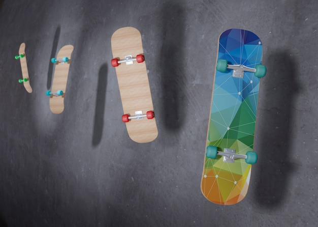 Skateboards floating in the air with mock-up