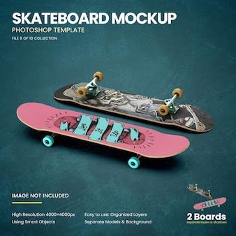 Skateboards on the floor mockup