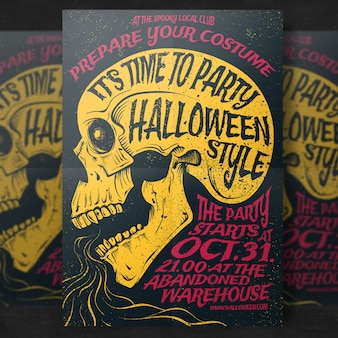 Skeleton halloween party flyer template