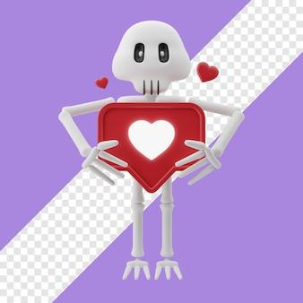 Скелет держит сердце значок 3d иллюстрация