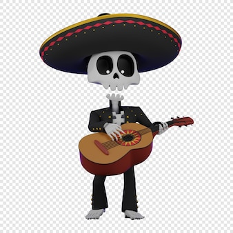 Skeleton in a mexican male costume with a sombrero playing the guitarrone el da de muertos holiday