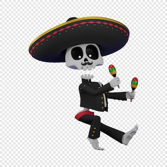 Skeleton in a mexican male costume with a sombrero playing the maracas el da de muertos holiday