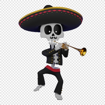 Skeleton in a mexican male costume with a sombrero playing the trumpet el da de muertos holiday