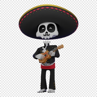 Skeleton in a mexican male costume with a sombrero playing the ukulele concept of el dia de muertos