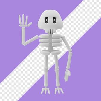 Скелет машет рукой 3d иллюстрации