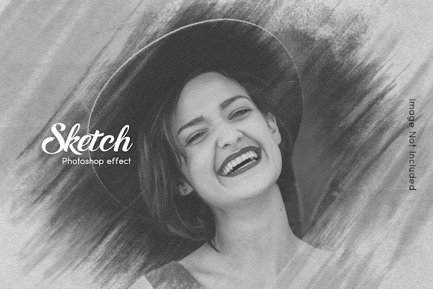 Sketch photo effect template