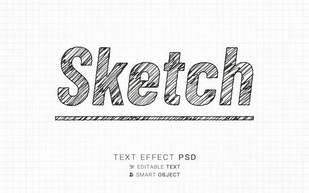 Modello di disegno dell'effetto di testo di schizzo