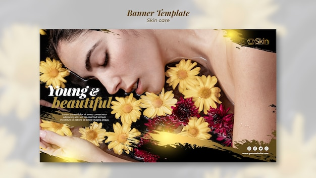 Skin care banner template concept