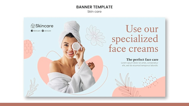 Skin care banner template design