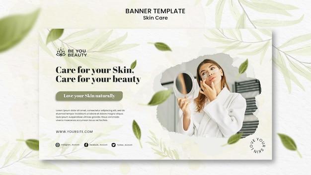 Modello di banner orizzontale per la cura della pelle