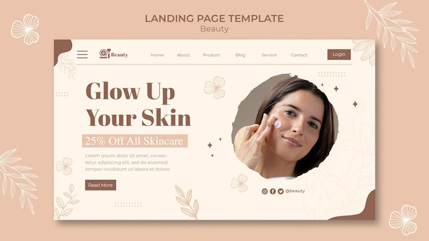 Skin care landing page template