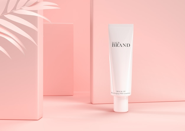 Skin care moisturizing cosmetic premium products on leaves wall.
