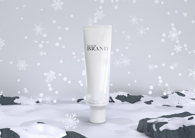 Skin care moisturizing cosmetic premium products in snow for christmas and winter.