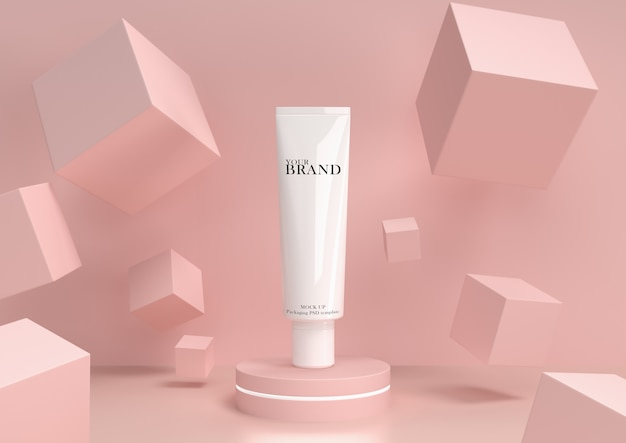 Skin care moisturizing cosmetic premium products with abstract background.